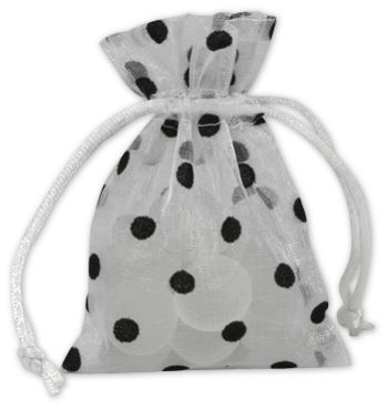 Black Dots on White Polka Dot Organdy Bags, 3 x 4