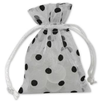 Black Dots on White Polka Dot Organdy Bags, 3 x 4""