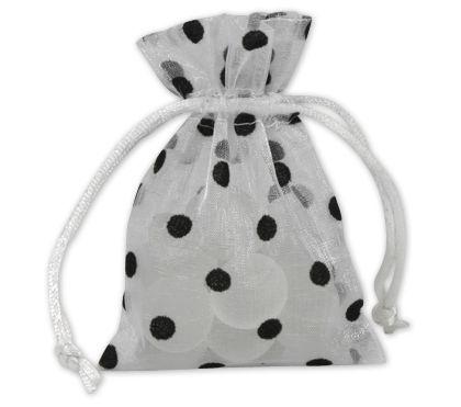 "Black Dots on White Polka Dot Organdy Bags, 3 x 4"""