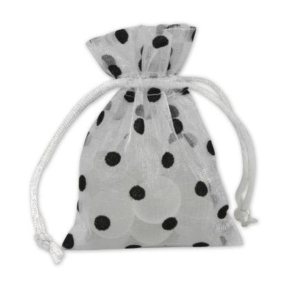 Black Dots on White Polka Dot Organdy Bags, 3 x 4