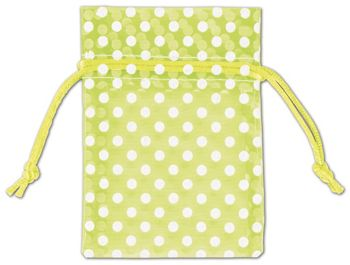 Lime Green Polka Dot Organdy Bags, 3 x 4