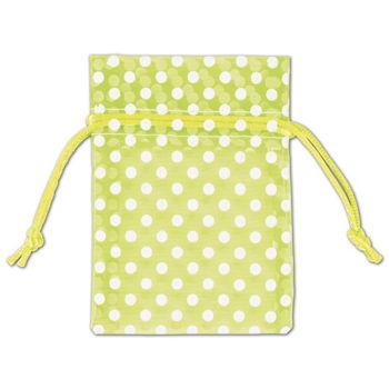 Lime Green Polka Dot Organdy Bags, 3 x 4""