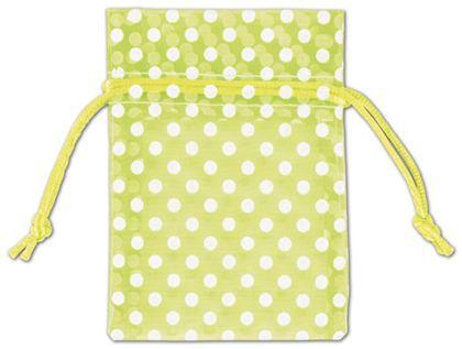 "Lime Green Polka Dot Organdy Bags, 3 x 4"""