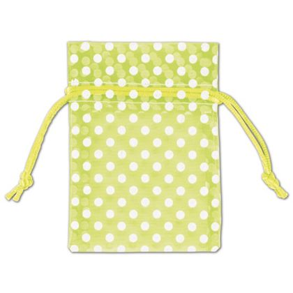 Lime Green Polka Dot Organdy Bags, 3 x 4