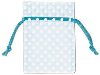 Light Blue Polka Dot Organdy Bags, 3 x 4