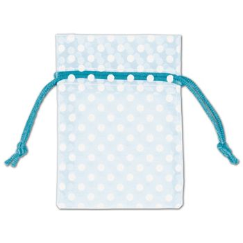 Light Blue Polka Dot Organdy Bags, 3 x 4""