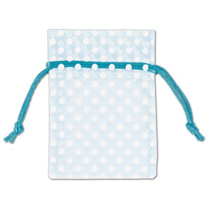 Light Blue Polka Dot Organdy Bags, 3 x 4