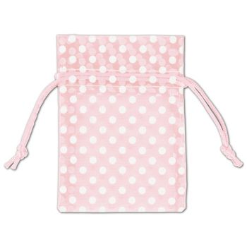 Light Pink Polka Dot Organdy Bags, 3 x 4