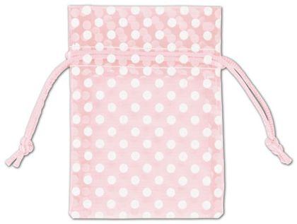 """Light Pink Polka Dot Organdy Bags, 3 x 4"""""""