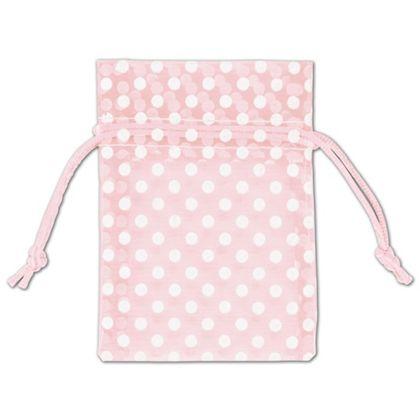 Light Pink Polka Dot Organdy Bags, 3 x 4