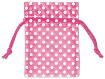 Hot Pink Polka Dot Organdy Bags, 3 x 4