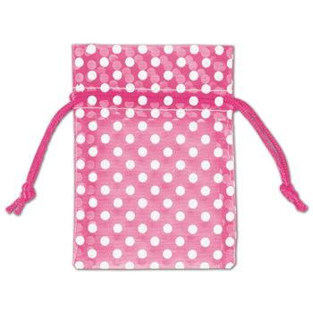 Hot Pink Polka Dot Organdy Bags, 3 x 4""