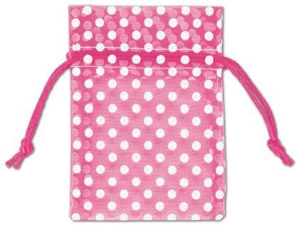"Hot Pink Polka Dot Organdy Bags, 3 x 4"""