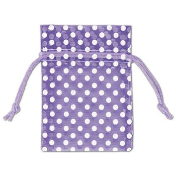 Purple Polka Dot Organdy Bags, 3 x 4