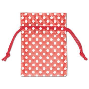 Red Polka Dot Organdy Bags, 3 x 4