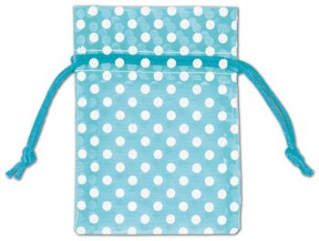 Teal Polka Dot Organdy Bags, 3 x 4