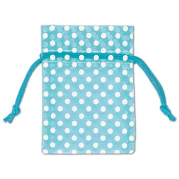 Teal Polka Dot Organdy Bags, 3 x 4""