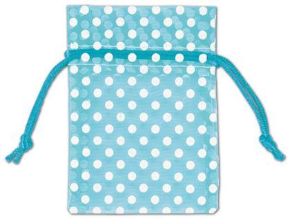 "Teal Polka Dot Organdy Bags, 3 x 4"""