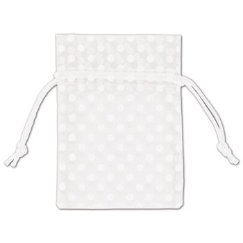 White Polka Dot Organdy Bags, 3 x 4""
