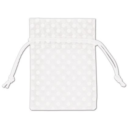 White Polka Dot Organdy Bags, 3 x 4
