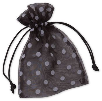 Black Polka Dot Organdy Bags, 4 x 6