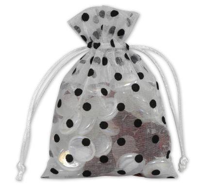 "Black Dots on White Polka Dot Organdy Bags, 4 x 6"""