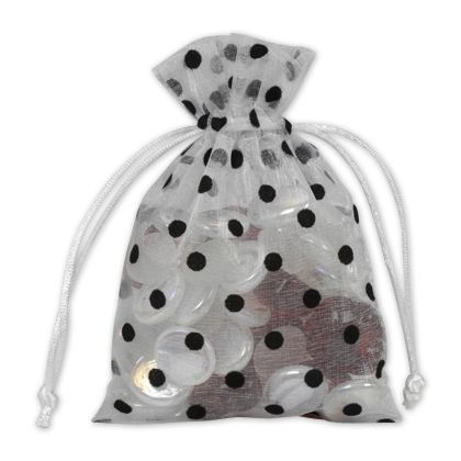 Black Dots on White Polka Dot Organdy Bags, 4 x 6