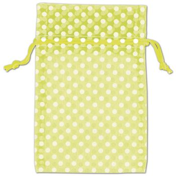 Lime Green Polka Dot Organdy Bags, 4 x 6