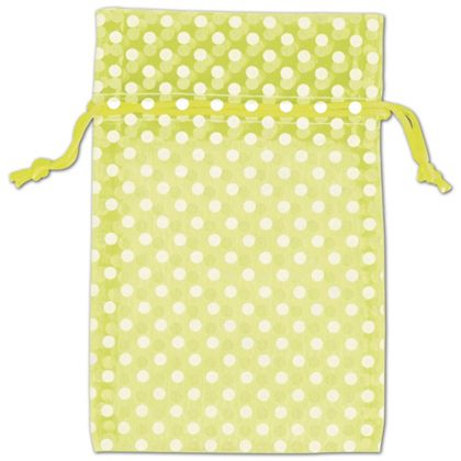 Lime Green Polka Dot Organdy Bags, 4 x 6""