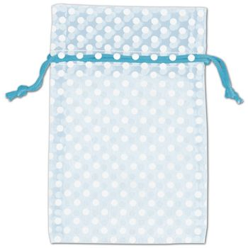 Light Blue Polka Dot Organdy Bags, 4 x 6