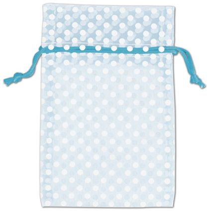 Light Blue Polka Dot Organdy Bags, 4 x 6""