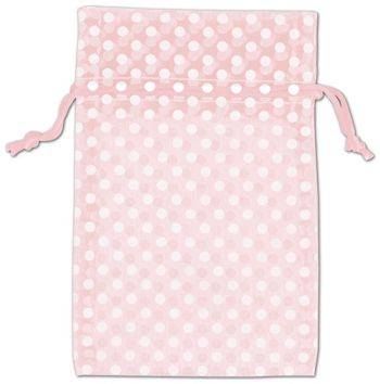Light Pink Polka Dot Organdy Bags, 4 x 6
