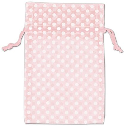 Light Pink Polka Dot Organdy Bags, 4 x 6""