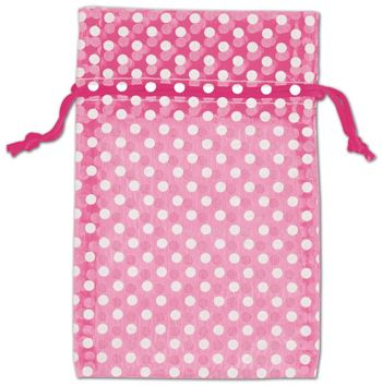 Hot Pink Polka Dot Organdy Bags, 4 x 6