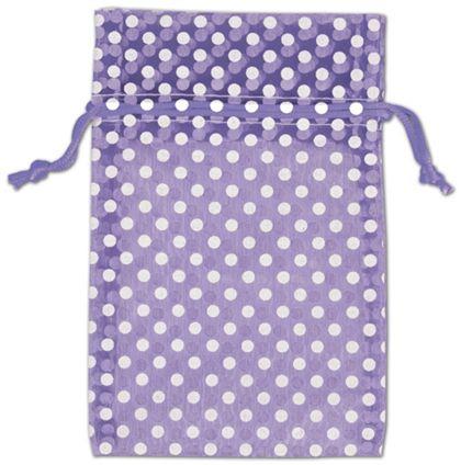 "Purple Polka Dot Organdy Bags, 4 x 6"""