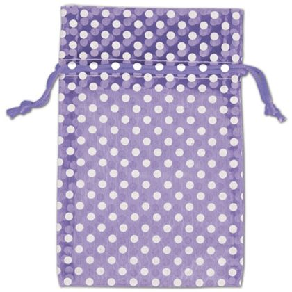 Purple Polka Dot Organdy Bags, 4 x 6