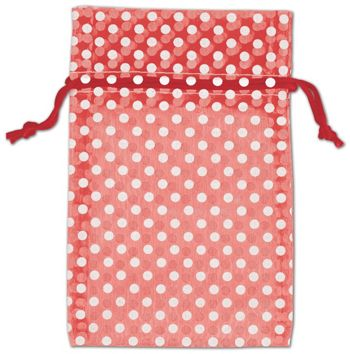 Red Polka Dot Organdy Bags, 4 x 6