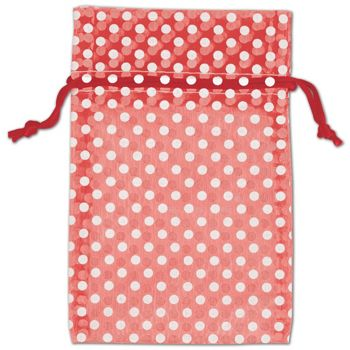 Red Polka Dot Organdy Bags, 4 x 6""