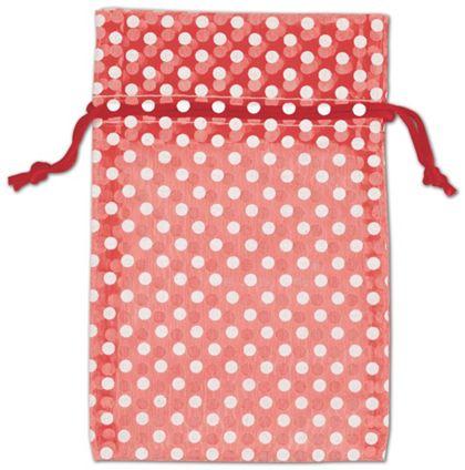 """Red Polka Dot Organdy Bags, 4 x 6"""""""