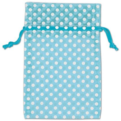 Teal Polka Dot Organdy Bags, 4 x 6""