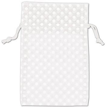 White Polka Dot Organdy Bags, 4 x 6