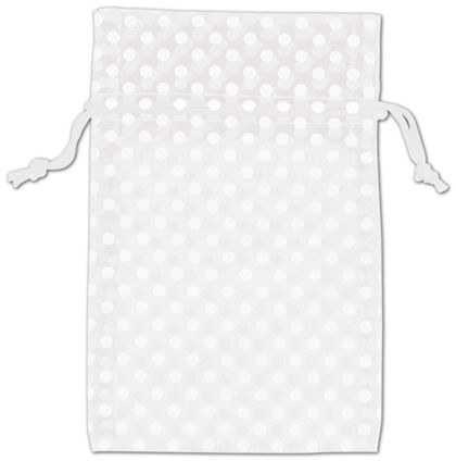 White Polka Dot Organdy Bags, 4 x 6""