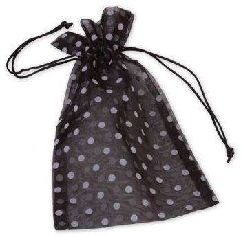 Black Polka Dot Organdy Bags, 6 x 10