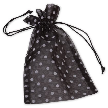 Black Polka Dot Organdy Bags, 6 x 10""