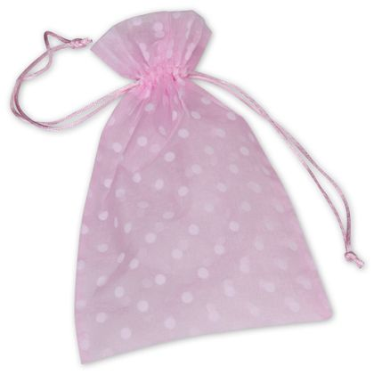 "Pink Polka Dot Organdy Bags, 6 x 10"""