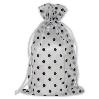 Black Dots on White Polka Dot Organdy Bags, 6 x 10