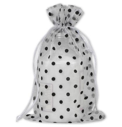 "Black Dots on White Polka Dot Organdy Bags, 6 x 10"""