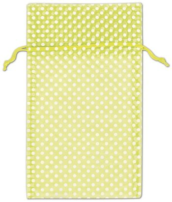 Lime Green Polka Dot Organdy Bags, 6 x 10