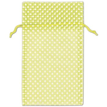 Lime Green Polka Dot Organdy Bags, 6 x 10""