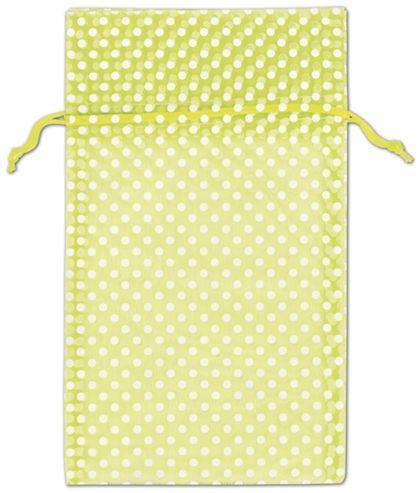 "Lime Green Polka Dot Organdy Bags, 6 x 10"""